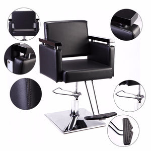 Classic Black Hydraulic Barber Chair Salon Beauty Styling Haircut Square Base