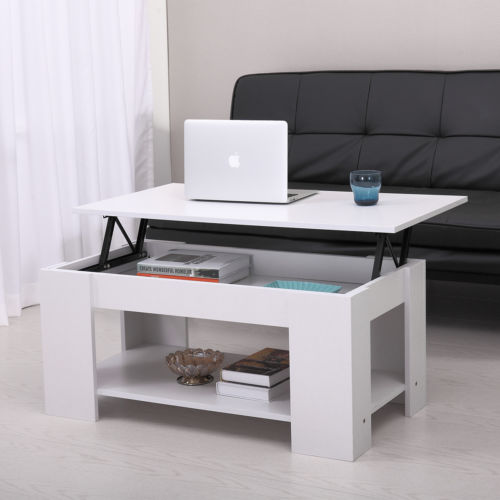 White Coffee Table Lift-Top Storage Shelves Wood Living Room Furniture Table