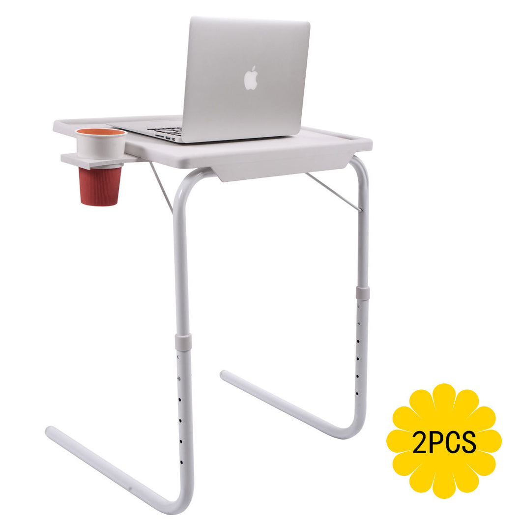 2 Smart Tables Mate Folding Tablemate Adjustable Tray Foldable Desks W/Cup Holder