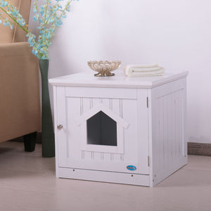 "20"" Wooden Covered Mess Free Pet Washroom Cat Litter Box End Table Hideaway Cabinet White/Brown"
