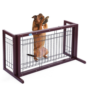 Wood Dog Gate Adjustable Indoor Solid Construction Pet Fence Gate Free Standing
