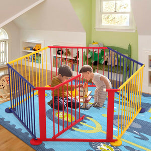 Wood Baby Playpen Kids Home Indoor Outdoor Game 6 Panel Safety Play Center Yard