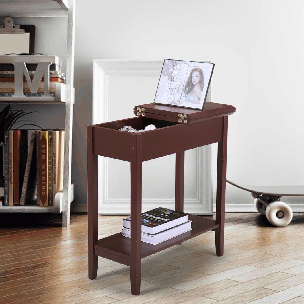 Chair Side Table Flip Top 2-Tier Narrow End Table Hidden Storage Small Spaces