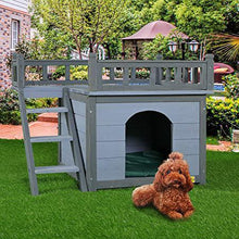 2-Story Wooden Dog House Shelter Weather Resistant Pet Cat Room with Climbable Stairs and Balcony Bed Indoor and Outdoor Use