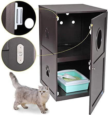 2-Tier Wood Cat Washroom Litter Box Enclosure Home Night Stand wMultiple Vents Indoor Pet Crate