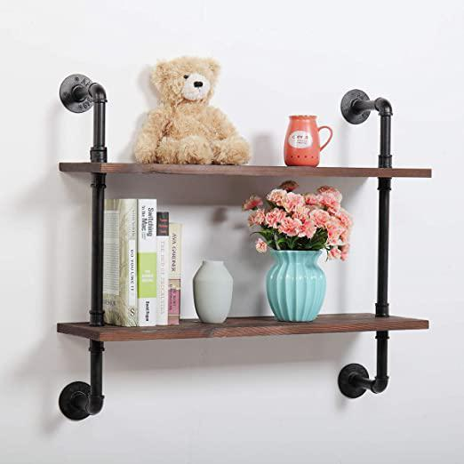 2-Tier Wood Modern Industrial Adjustable Wall-Mounted Pipe Floating Shelving Shelf Unit with Metal Frame Safe and Sturdy Rustic Brown