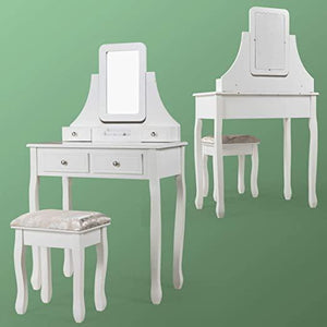 2-in-1 Vanity Table Set with Square Mirror & Cushioned Stool