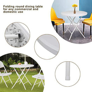 2.6 FT Portable Folding Round Plastic Dining Coffee Table with Stable X-Frame