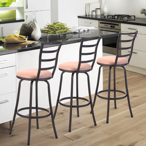 Set of 3 Swivel Counter Bar Stools Modern Barstool Bistro Pub Chair New Metal Finish