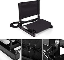 2PCS Lightweight Stadium Chair Wide Black Bleacher Seat Durable Padded Seat with Back