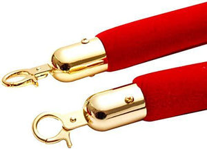 2PCS Red Velvet Barrier Rope with Gold Plated Color Hooks Crowd Control Stanchion