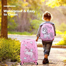 2Pc Kids Carry On Luggage Set Suitcase School Bag