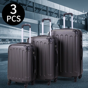 Gray BHC 3Pcs Suitcase Luggage Travel Bag Tags Spinner Coded Lock Set Wheels