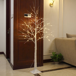4ft 48LED Christmas Xmas White Birch Snow Tree LED Light Warm Decorative Festival Party