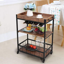 3-Tier Industrial Bar Mobile Serving Kitchen Cart with Casters Removable Tray Wood Metal Serving Trolley Dining Room Utility Cart Brown
