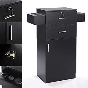 3-layer Beauty Salon Storage Cabinet wHair Dryer Holder Lockable Styling Station Black