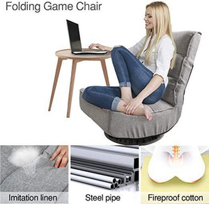 360-Degree Swivel Gaming Chair Padded Folding Floor Chair with 7 Adjustable Position Lazy Leisure Sofa Lounge Chair for Home Office Grey