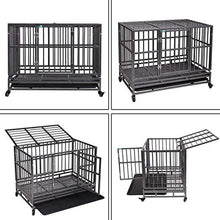 37  Flat Roof Heavy Duty Dog Cage Strong Metal Kennel and Crate for Dogs Pet Playpen with Four Wheels and Double Door Indoor Outdoor