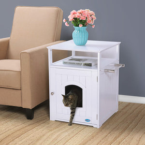 Cat Litter Box End Table Wood Pet Crate Night Stand Puppy