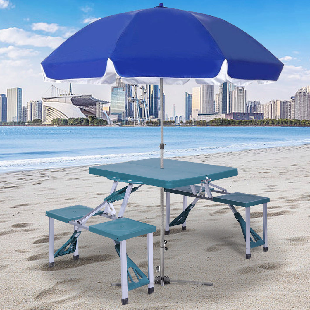 Portable Folding Plastic Camping Picnic Table 4 Seats Outdoor Garden W/Case Green