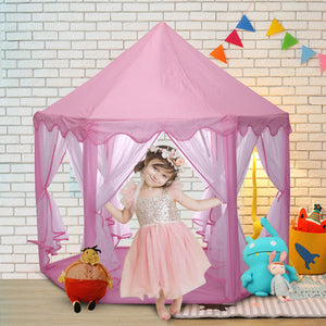 Kid Girls Pink Princess Castle Cute Playhouse Children Play Tent