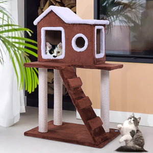 "36"" Pet Cat Tree Play House Condo with Scratching Posts Climbing Ladder Coffee"
