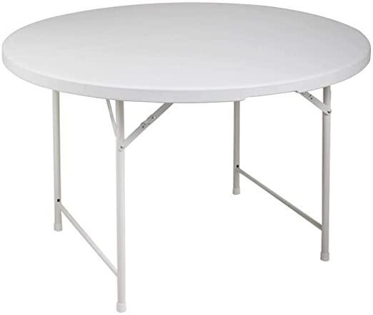 4' Plastic Folding Round Dining Table W/Carrying Handle for Indoor Outdoor Gathering White