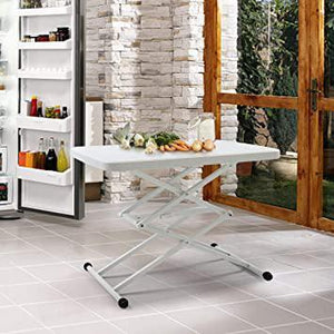 White 4 Height Adjusting Rectangular Dnining Table Desk with Cross Supporting Design Outdoor/Indoor