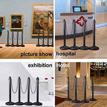 4 PCs Plastic Stanchion Crowd Control Stands Post Set Barrier with Chains in Black