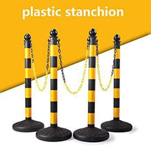 Plastic Stanchion Crowd Control Stands Post Set Barrier with Chains in Black & Yellow
