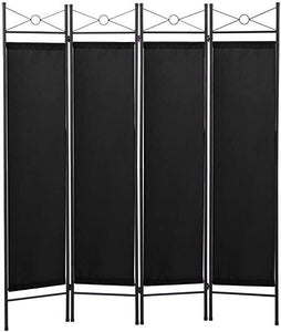 4 Panel Room Divider Privacy Screen Home Office Fabric Metal Frame Black