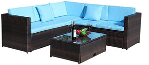 4-Piece Rattan Wicker Sectional Patio Furniture Set wComfortable Cushions