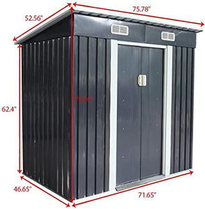 4' x 6' Outdoor Garden Storage Steel Shed Utility Tool House Backyard Lawn with Sliding Door Gray