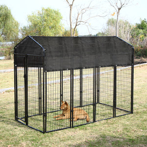 Outdoor Large Dog Kennel Covers Pet Crate Dog Cage Cover Sun Shades 6 x10 ft   Dark green/Black/beige