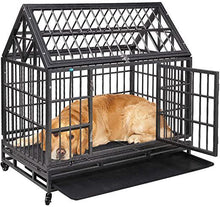 42.5 Tip Roof Heavy Duty Dog Cage Strong Metal Kennel and Crate for Dogs Pet Playpen with Four Wheels and Double Door Indoor Outdoor