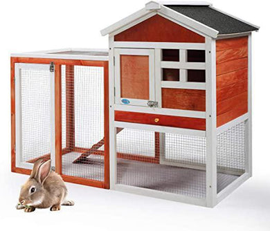 44 Wooden Rabbit Hutch Cage House Habitat Animal Pet Chicken Coop Outdoor