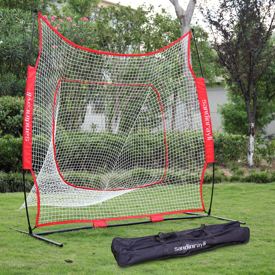 7×7' Baseball Softball Practice Hitting Batting Training Net Bow Frame W/ Bag