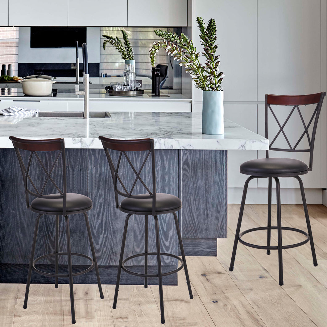 Set of 3 Adjustable Swivel High Back Bar Stools Steel Frame Counter Height Modern Barstool Pub Chairs