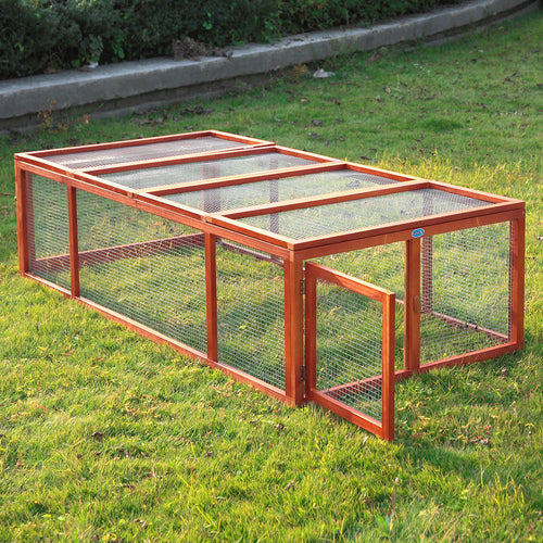 Wooden Rabbit Hutch Chicken Coop House Bunny Pet Animal Backyard Run Mesh Cover