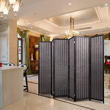 6 - Panel Room Divider Privacy Partition Portable Freestanding Screen with Rustic Taste