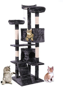 60 H Black Luxury Multi-Level Cat Tree with 3 View Platform 2 Condo House and Scratching Sisal Posts