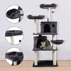 60 H Cat Tree Kittens Activity Tower wCondo and Scratching Post Pet Play House w2 Spacious Rooms Dark Gray