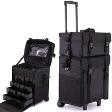 Makeup Case Train Box Cosmetic Organizer Rolling Luggage Trolley Bag detachable