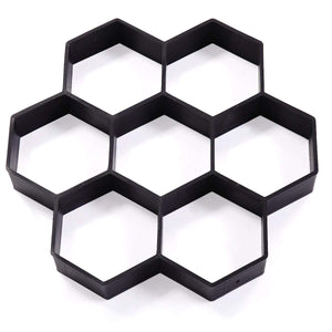 "Black 7-Block Pattern 11.8""x11.8""Stone Road Concrete Mold Garden Stone Road DIY Mold Paving Pavement Concrete Mold Stepping Stone Paver Walk Maker"