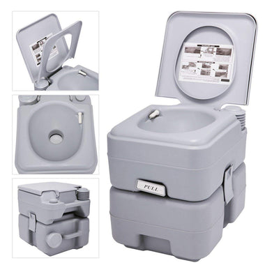 Gallon 20L Flush Porta Potti Outdoor Indoor Travel Camping Portable Toilet for Car, Boat, Caravan, Campsite, Hospital