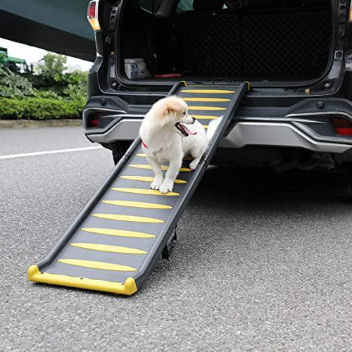 63  Dog Car Ramp Non-Slip Bi-Fold Portable Pet Ramp for Large Dog Cat Hold up to 330LBS- for Bed SUV Cars Truck