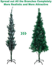 2020 6FT Artificial Christmas Tree Green Pine Tree with Metal Stand 240 Branch Full Tree