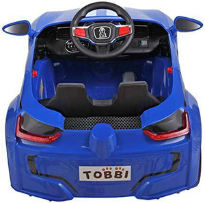 6V Kids Ride On Car Battery Powered Electric Sports Car w MP3 LED Headlights Remote Control Story Blue &White Stripes