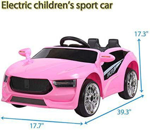 6V Kids Ride On Car Battery Powered Electric Sports Car w MP3 LED Headlights Remote Control Story Pink