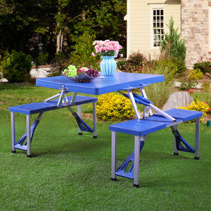 Portable Folding Plastic Camping Picnic Table 4 Seats Outdoor Garden W/Case Blue